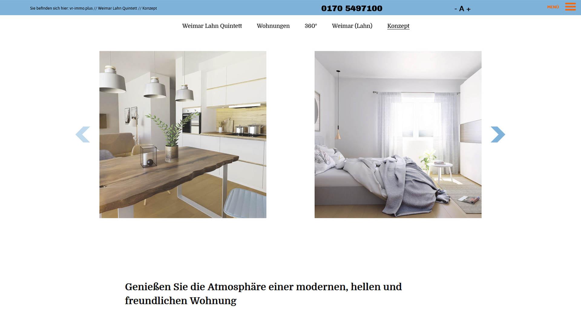 Immobilienmarketing vr-immoplus Webseite