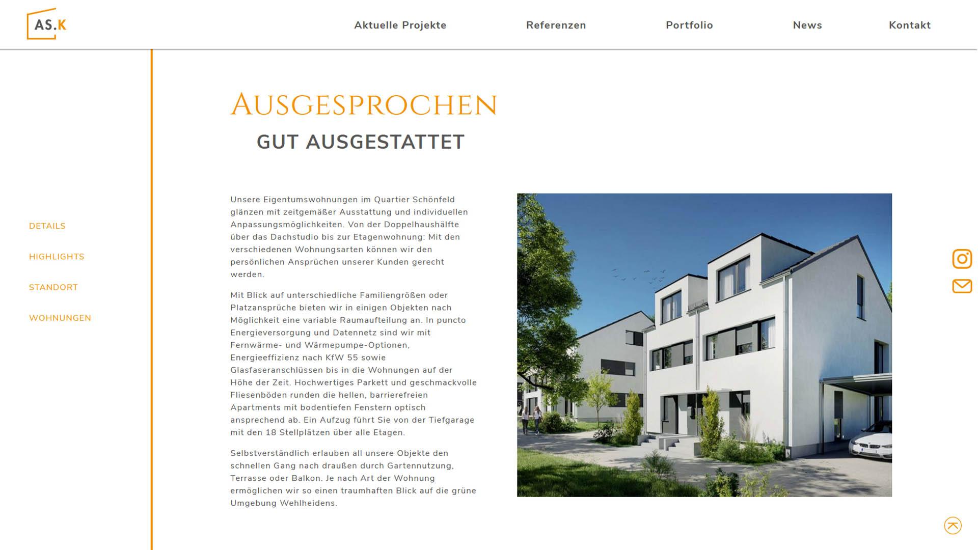 Immobilienmarketing AS Kapital Webseite