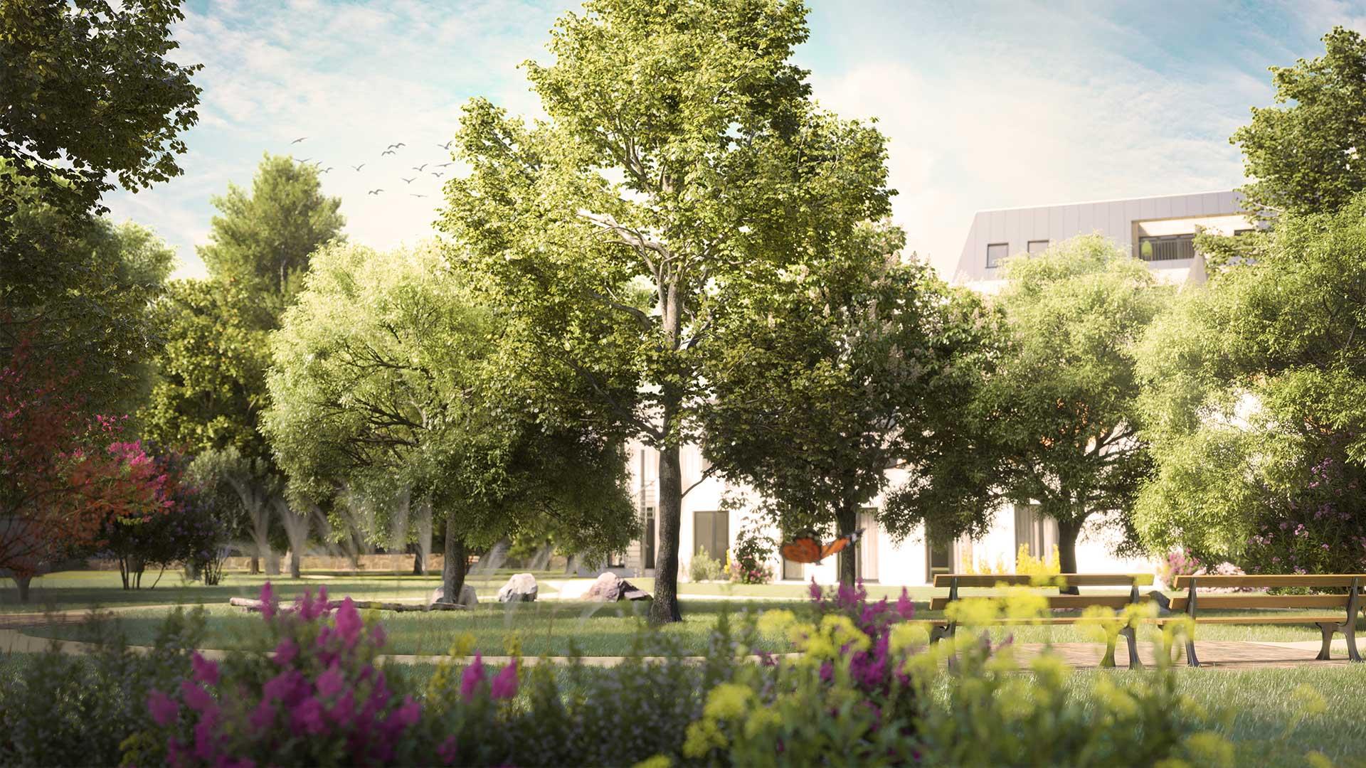 Immobilienmarketing Parkquartier Visualisierung