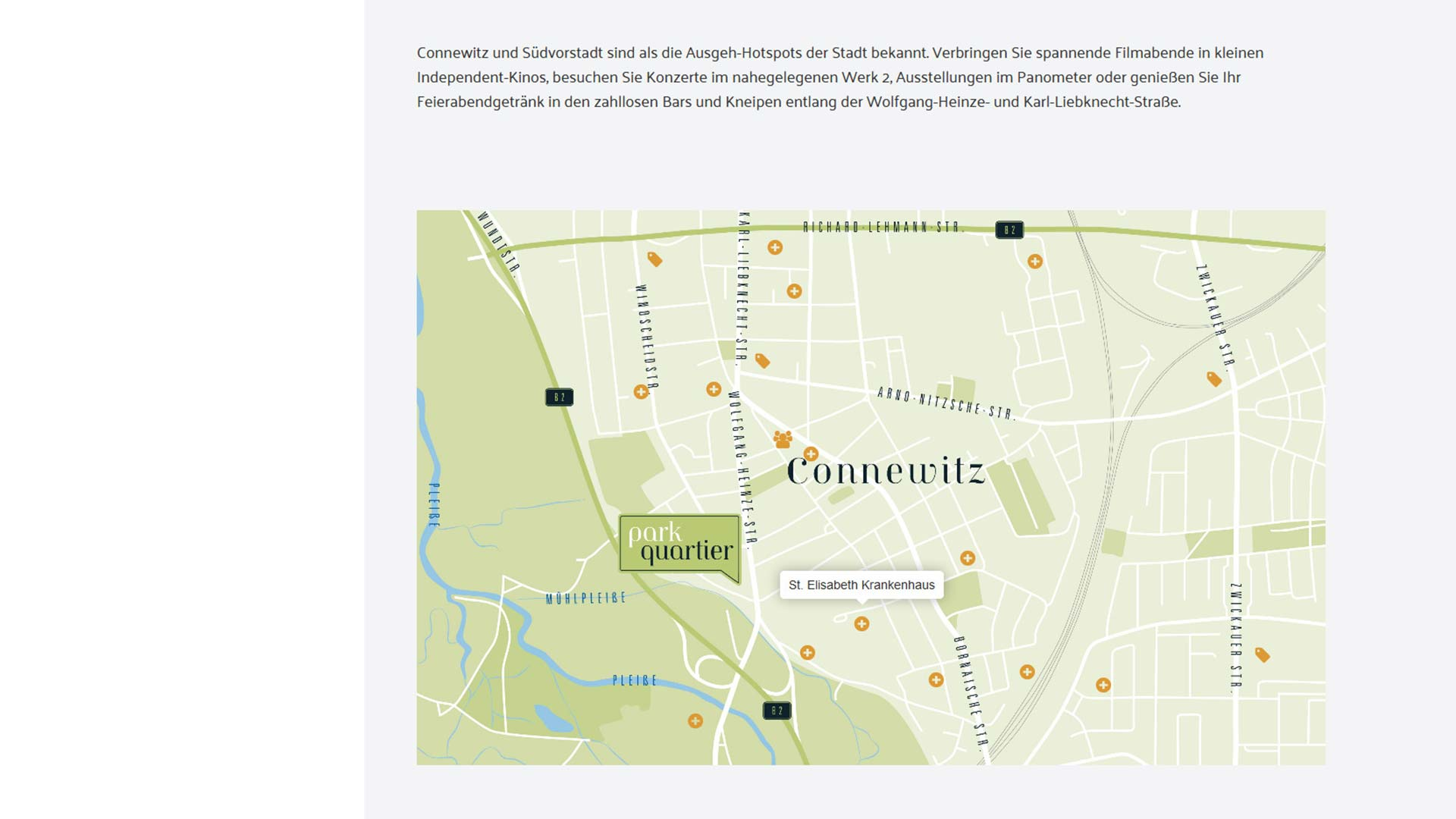Immobilienmarketing Parkquartier Webseite